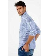camisa de hombre, silueta classic con cuello francés, preteñida a rayas, color azul