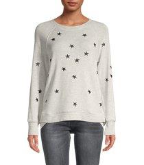 workshop women's star-print crewneck sweatshirt - black white - size m