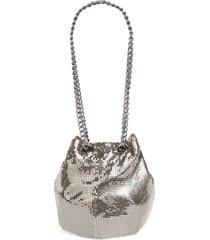 whiting & davis mesh bucket bag - metallic