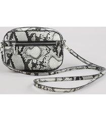 bolsa pochete feminina pequena croco estampada animal print cinza claro