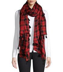 check wool & silk tassel scarf