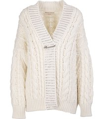 ermanno scervino ivory wool blend cardigan with crystals and bijoux brooch