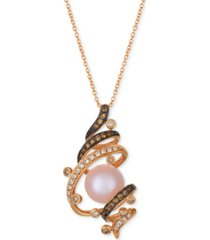 le vian chocolatier strawberry pearl (9-1/2mm) & diamond (3/8 ct. t.w.) pendant necklace in 14k rose gold