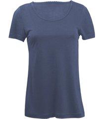 zijden-shirt met korte mouwen uit organic silk, nachtblauw 40/42