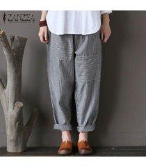 zanzea del tamaño extra grande bolsillos pantalón elástico de las mujeres rayadas casual pantalones largos flojos -gris