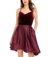 teeze me juniors' high-low velvet-top dress