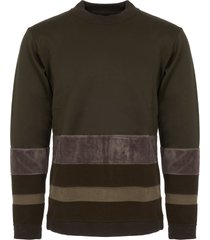 white mountaineering khaki contrast border mock neck jumper wm17733518