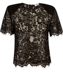self-portrait black cord lace sleeved top