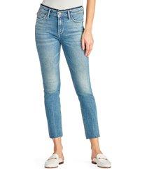 women's sam edelman the kitten high waist raw hem straight leg jeans, size 27 - blue