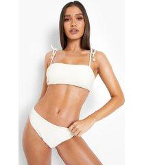 gekreukelde bikini top met bandjes, natural beige
