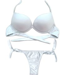 biquíni bojo bolha alça estreita divance branco calcinha de amarração lateral
