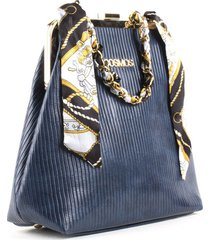 bolso femenino tipo cartera azul con cadena y pañoleta cosmos