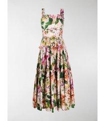 dolce & gabbana floral print pleated sleeveless dress