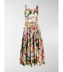 dolce & gabbana floral print pleated sleeveless dress