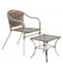 jogo cadeira 1un e mesa de centro floripa para edicula jardim area varanda descanso - argila