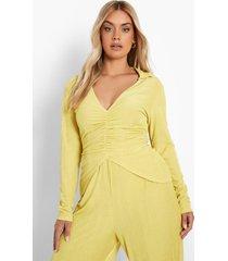 plus gerecyclede geribbelde blouse met strik, mustard