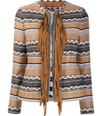 bazar deluxe fringed woven jacket - brown
