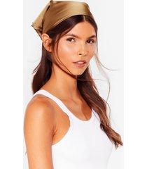 womens a lil more shine satin headscarf - camel