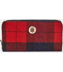 tommy hilfiger women's plaid wool wallet corporate melton check -