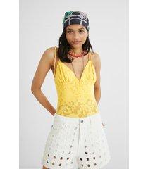 embroidered bodysuit fine straps - yellow - xl