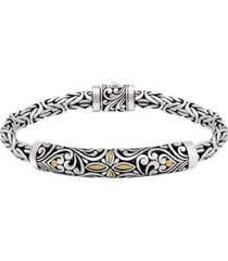 bali filigree with woven byzantine oval chain bracelet in sterling silver and 18k gold