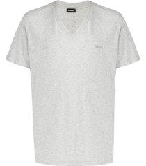 diesel v-neck slub cotton t-shirt - grey