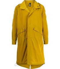 hevo relaxed-fit hooded trench coat - yellow