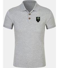 mens tinta unita sottile stile semplice manica corta golf camicia con petto francobollo