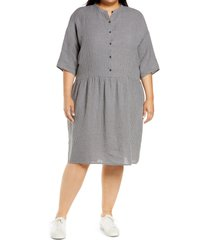 plus size women's eileen fisher drop waist organic linen dress, size 3x - grey