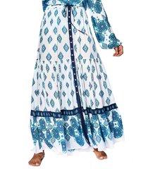 light blue flower gipsy print long skirt