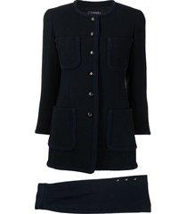 chanel pre-owned 1993 collarless skirt suit - blue
