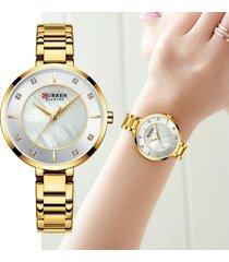 reloj de lujo dama curren cristal diamante acero análogo