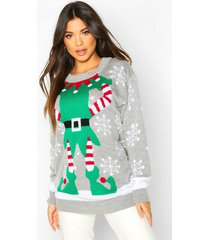 lange elf outfit kerst trui, grey