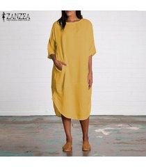 zanzea algodón de las mujeres de cuello redondo batwing camisa de vestido asimétrico midi vestido más del tamaño -amarillo