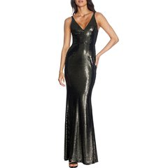 women's dress the population harper mermaid gown, size x-large - black