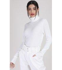 blusa de tricô feminina manu gavassi canelada manga longa gola alta off white