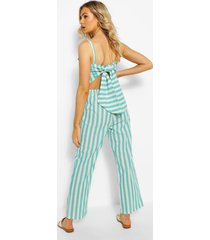 linen stripe tie back jumpsuit, sage