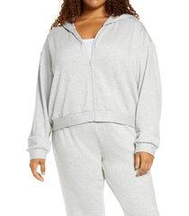 plus size women's bp. fleece zip hoodie, size 1x - grey
