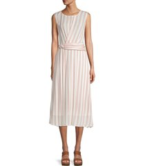 chenault women's striped belted dress - white - size l