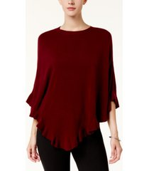karen scott petite luxsoft ruffled poncho sweater, created for macy's