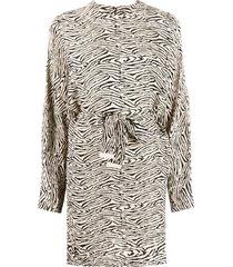 nanushka hierro zebra-print dolman sleeve dress - neutrals