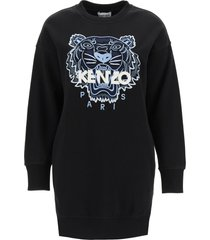 kenzo fleece mini dress with tiger embroidery