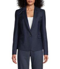 boss hugo boss women's janufa dot-print blazer - blue - size 6