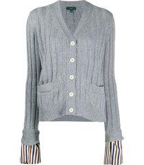 jejia contrasting striped cuff cardigan - grey