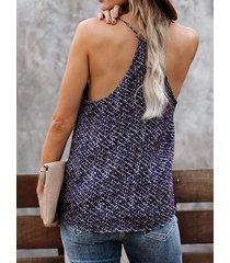camiseta sin mangas con cuello en v de leopardo con tirantes finos azul