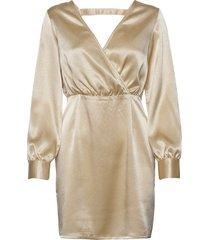v neck drapy dress kort klänning beige ivyrevel