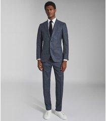 reiss text - wool blend slim fit blazer in airforce blue, mens, size 46