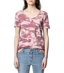 women's zadig & voltaire awa linen camo tee, size small - pink