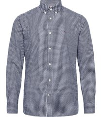 cotton cashmere chk dobby shirt overhemd casual blauw tommy hilfiger