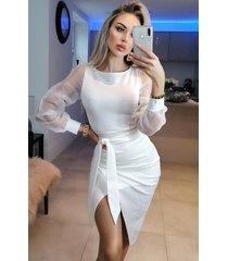 ctw grace organza mesh sleeves wrap dress wit